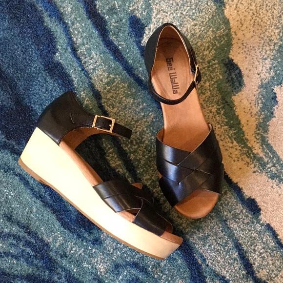 1e3957eb2d871 Anthropologie Shoes | Gee Wawa Donatella Black Wedge Sandals Size 7 ...